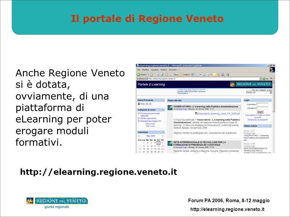 Forum PA 2006, Roma, 8-12 maggio http://elearning.regione.veneto.it Il portale di Regione Veneto Anche Regione Veneto si è dotata, ovviamente, di una piattaforma di eLearning per poter erogare moduli formativi.