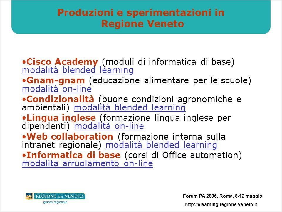 Forum PA 2006, Roma, 8-12 maggio http://elearning.regione.veneto.it Produzioni e sperimentazioni in Regione Veneto Cisco Academy (moduli di informatic