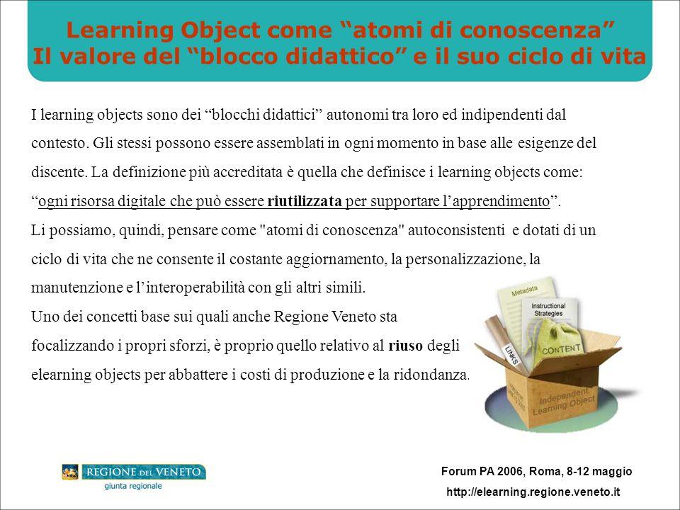 Forum PA 2006, Roma, 8-12 maggio http://elearning.regione.veneto.it Riuso e collaborative elearning Nellottica dellinteroperabilità fra sistemi di elearning, grazie ad un approccio collaborativo/federativo e con il preciso intento di riusare e standardizzare i moduli già acquisiti, Regione Veneto ha aderito al progetto: RETE FAD – LE REGIONI ITALIANE INSIEME PER LELEARNING che attualmente prevede: la condivisione di buone pratiche, la formalizzazione di un protocollo di intesa, tavoli di lavoro tecnici per linteroperabilità, lapertura del network alle altre regioni che vorranno partecipare, il fund raising e altre iniziative
