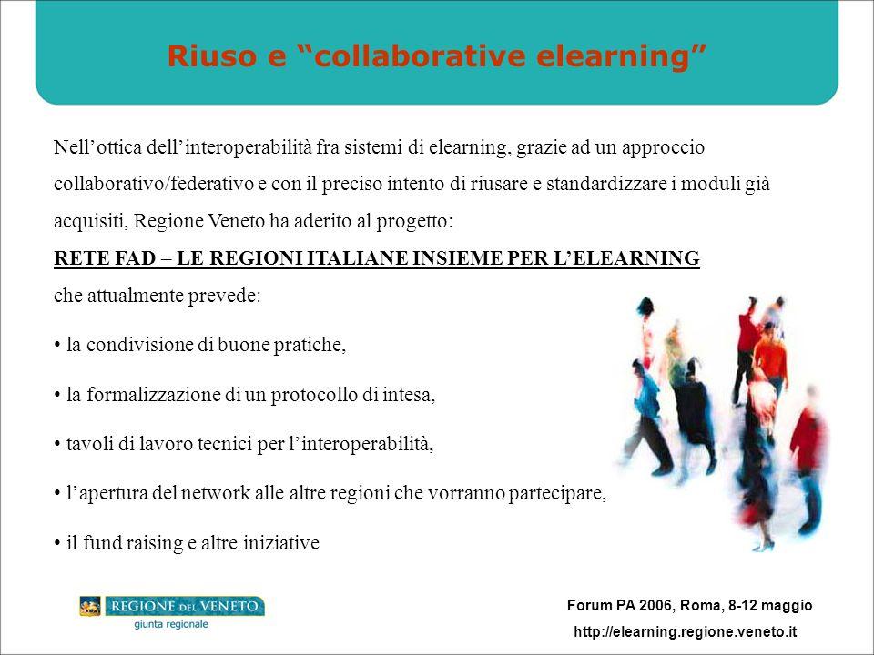 Forum PA 2006, Roma, 8-12 maggio http://elearning.regione.veneto.it Riuso e collaborative elearning Nellottica dellinteroperabilità fra sistemi di ele