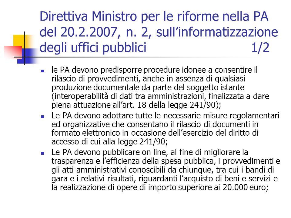 Direttiva Ministro per le riforme nella PA del 20.2.2007, n.