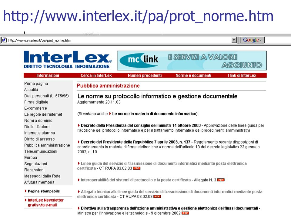 http://www.interlex.it/pa/prot_norme.htm