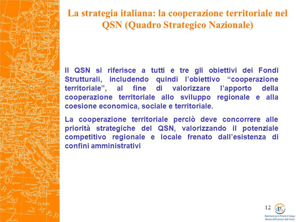 12 La strategia italiana: la cooperazione territoriale nel QSN (Quadro Strategico Nazionale) Il QSN si riferisce a tutti e tre gli obiettivi dei Fondi Strutturali, includendo quindi lobiettivo cooperazione territoriale, al fine di valorizzare lapporto della cooperazione territoriale allo sviluppo regionale e alla coesione economica, sociale e territoriale.
