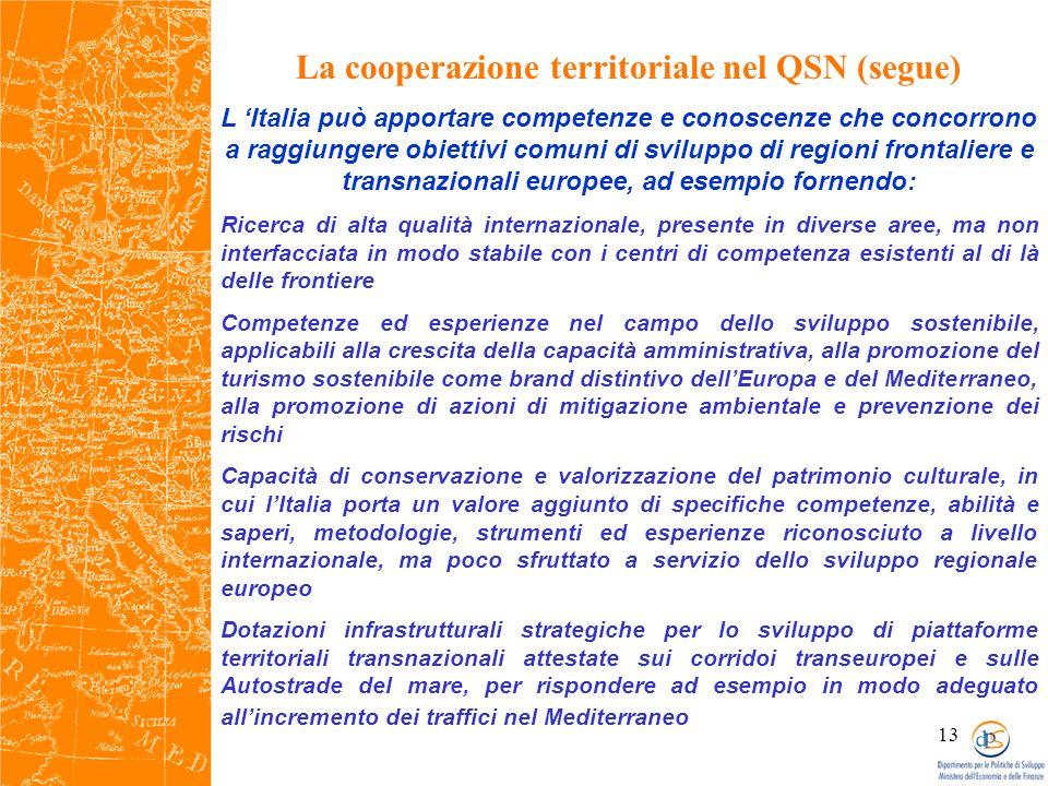 13 La cooperazione territoriale nel QSN (segue) L Italia può apportare competenze e conoscenze che concorrono a raggiungere obiettivi comuni di sviluppo di regioni frontaliere e transnazionali europee, ad esempio fornendo: Ricerca di alta qualità internazionale, presente in diverse aree, ma non interfacciata in modo stabile con i centri di competenza esistenti al di là delle frontiere Competenze ed esperienze nel campo dello sviluppo sostenibile, applicabili alla crescita della capacità amministrativa, alla promozione del turismo sostenibile come brand distintivo dellEuropa e del Mediterraneo, alla promozione di azioni di mitigazione ambientale e prevenzione dei rischi Capacità di conservazione e valorizzazione del patrimonio culturale, in cui lItalia porta un valore aggiunto di specifiche competenze, abilità e saperi, metodologie, strumenti ed esperienze riconosciuto a livello internazionale, ma poco sfruttato a servizio dello sviluppo regionale europeo Dotazioni infrastrutturali strategiche per lo sviluppo di piattaforme territoriali transnazionali attestate sui corridoi transeuropei e sulle Autostrade del mare, per rispondere ad esempio in modo adeguato allincremento dei traffici nel Mediterraneo
