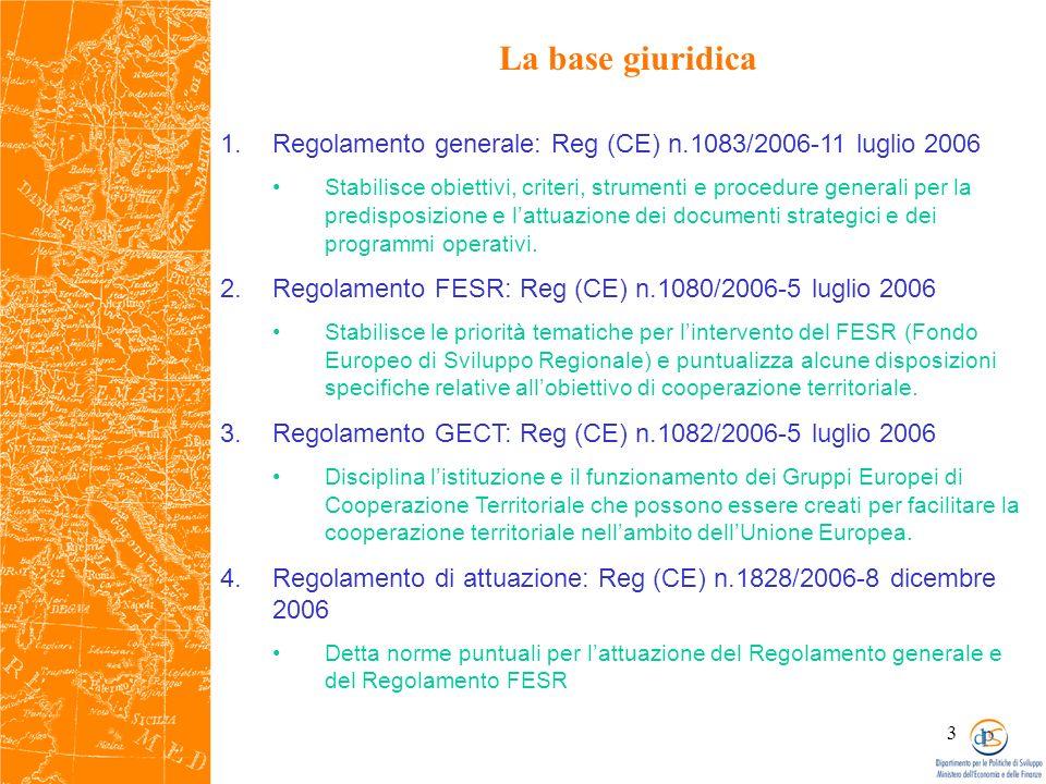 3 La base giuridica 1.Regolamento generale: Reg (CE) n.1083/2006-11 luglio 2006 Stabilisce obiettivi, criteri, strumenti e procedure generali per la predisposizione e lattuazione dei documenti strategici e dei programmi operativi.