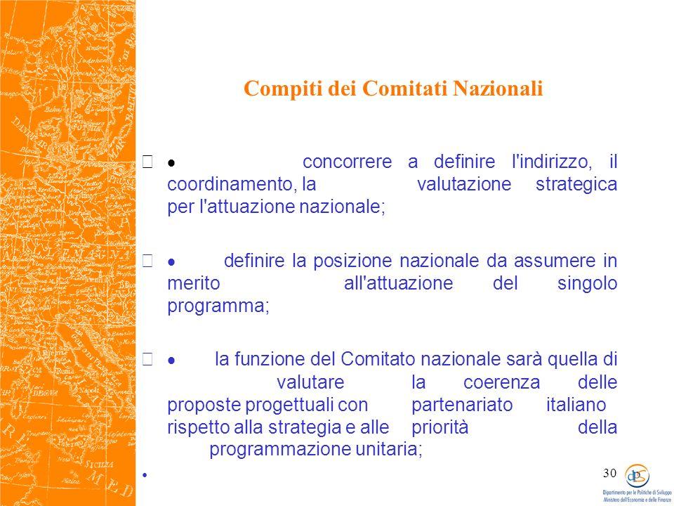 30 Compiti dei Comitati Nazionali concorrere a definire l indirizzo, il coordinamento, la valutazione strategica per l attuazione nazionale; definire la posizione nazionale da assumere in merito all attuazione del singolo programma; la funzione del Comitato nazionale sarà quella di valutare la coerenza delle proposte progettuali con partenariato italiano rispetto alla strategia e alle priorità della programmazione unitaria;