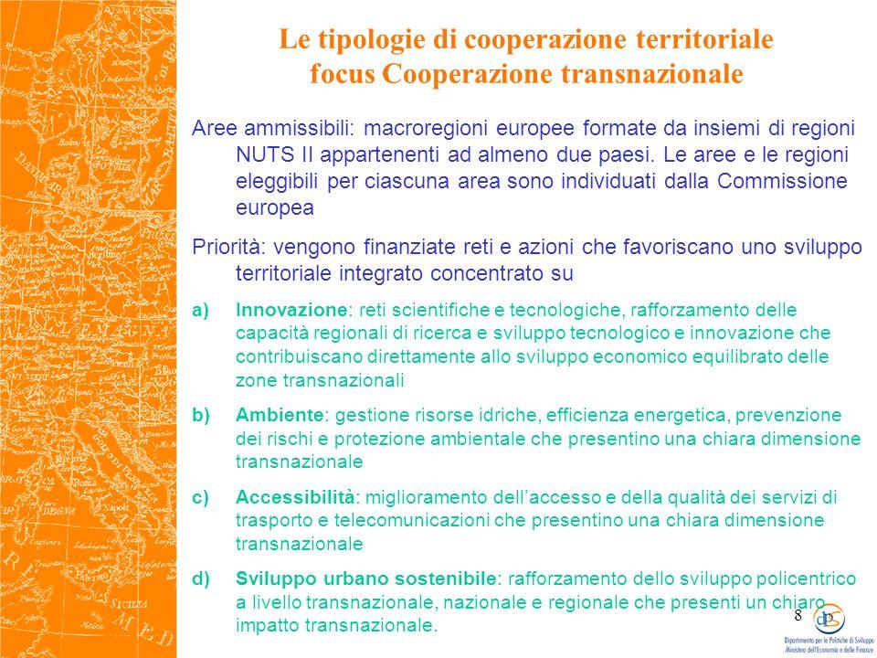 8 Le tipologie di cooperazione territoriale focus Cooperazione transnazionale Aree ammissibili: macroregioni europee formate da insiemi di regioni NUTS II appartenenti ad almeno due paesi.