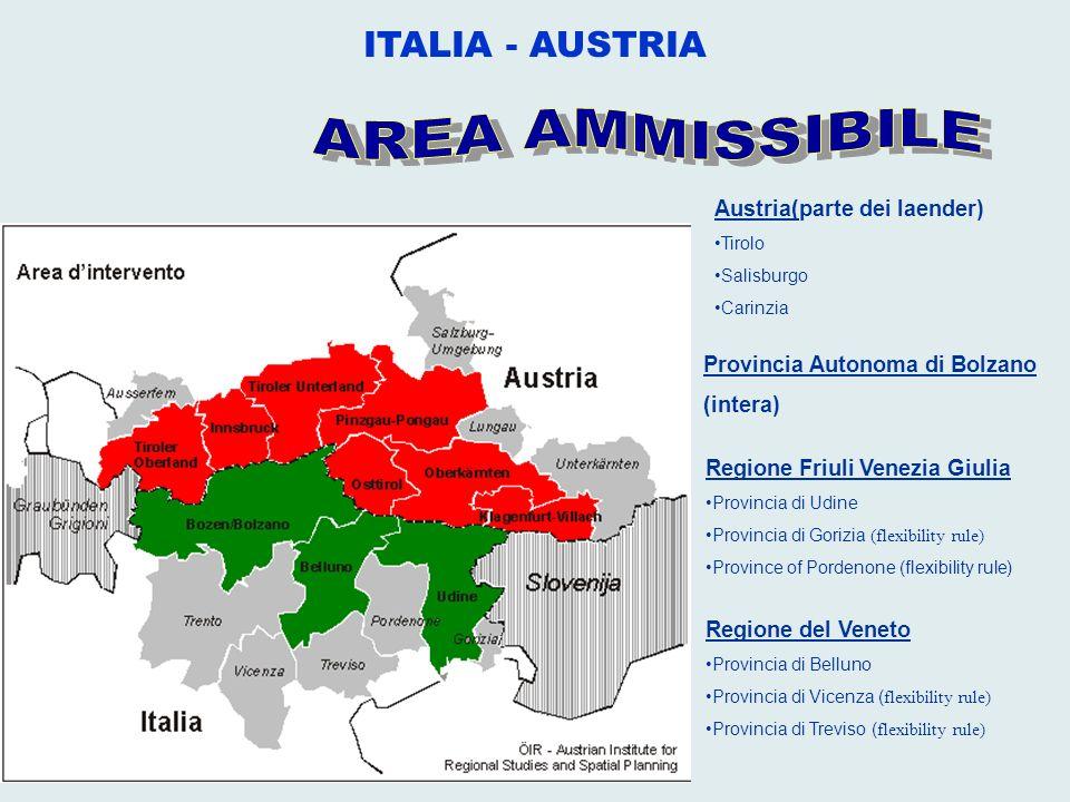 Provincia Autonoma di Bolzano (intera) Regione Friuli Venezia Giulia Provincia di Udine Provincia di Gorizia (flexibility rule) Province of Pordenone