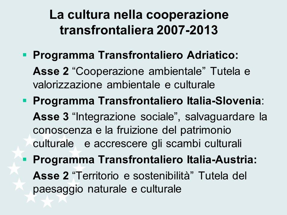 La cultura nella cooperazione transfrontaliera 2007-2013 Programma Transfrontaliero Adriatico: Asse 2 Cooperazione ambientale Tutela e valorizzazione