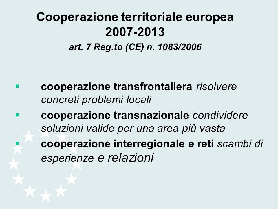 Cooperazione territoriale europea 2007-2013 art. 7 Reg.to (CE) n. 1083/2006 cooperazione transfrontaliera risolvere concreti problemi locali cooperazi