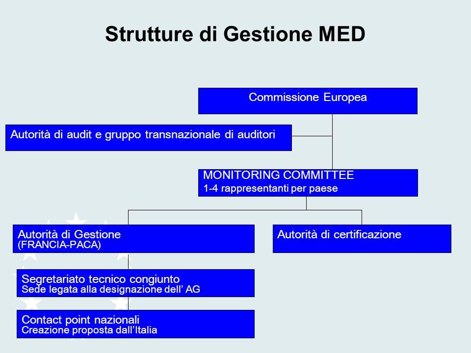 Strutture di Gestione MED Commissione Europea Autorità di audit e gruppo transnazionale di auditori MONITORING COMMITTEE 1-4 rappresentanti per paese