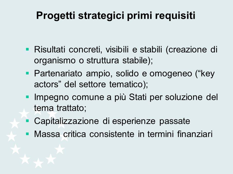Progetti strategici primi requisiti Risultati concreti, visibili e stabili (creazione di organismo o struttura stabile); Partenariato ampio, solido e