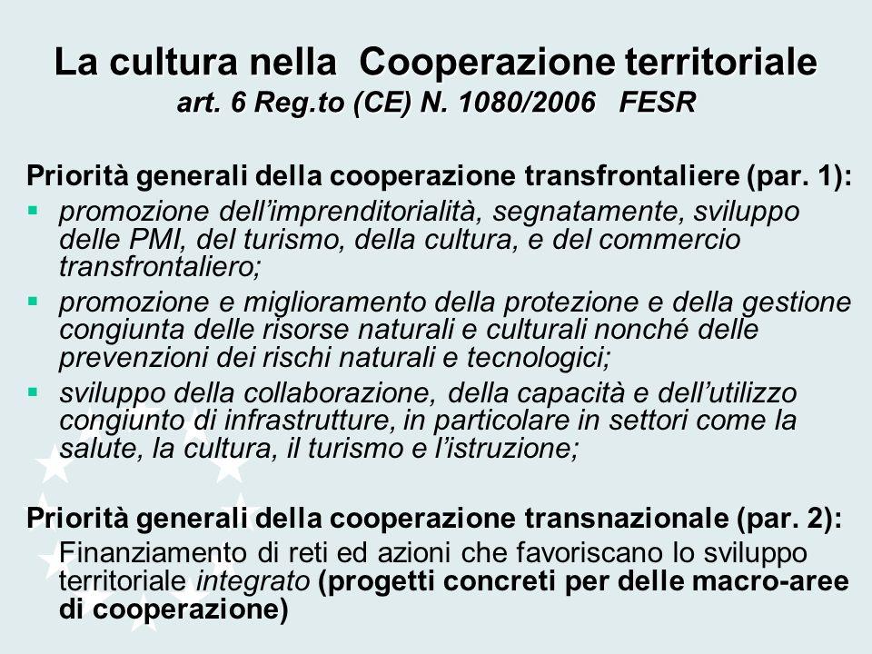 Priorità generali della cooperazione transfrontaliere (par. 1): promozione dellimprenditorialità, segnatamente, sviluppo delle PMI, del turismo, della