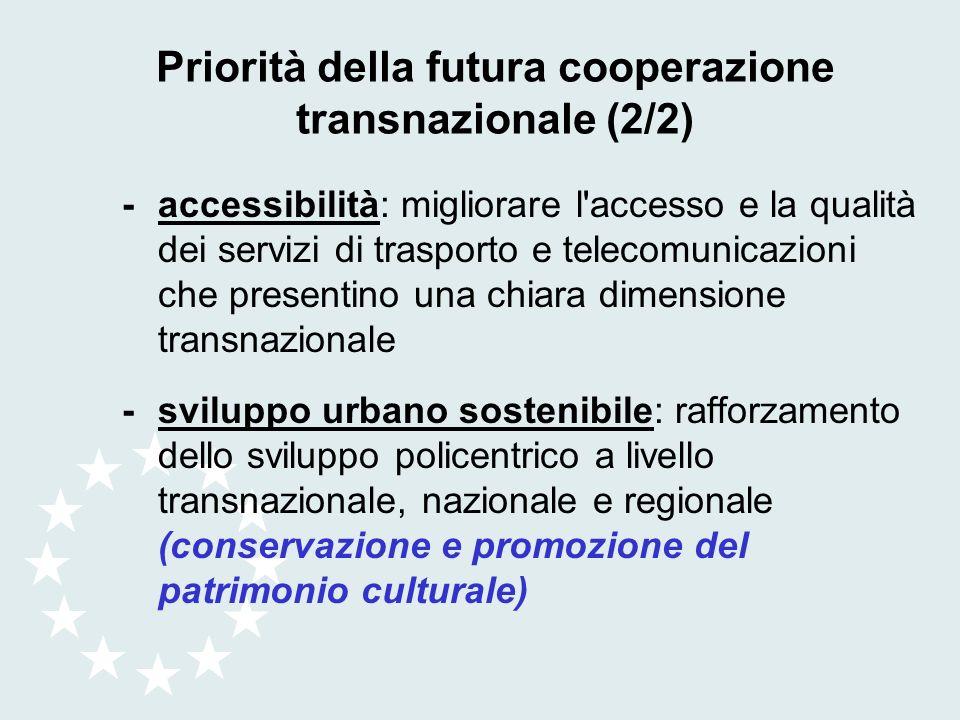Priorità della futura cooperazione transnazionale (2/2) -accessibilità: migliorare l'accesso e la qualità dei servizi di trasporto e telecomunicazioni
