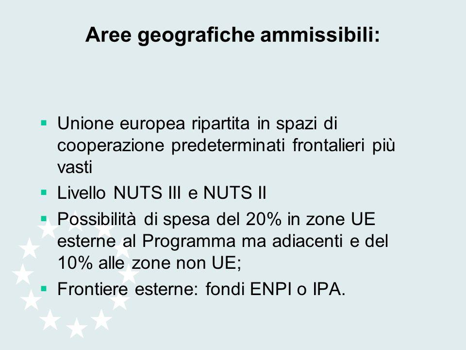 Aree geografiche ammissibili: Unione europea ripartita in spazi di cooperazione predeterminati frontalieri più vasti Livello NUTS III e NUTS II Possib