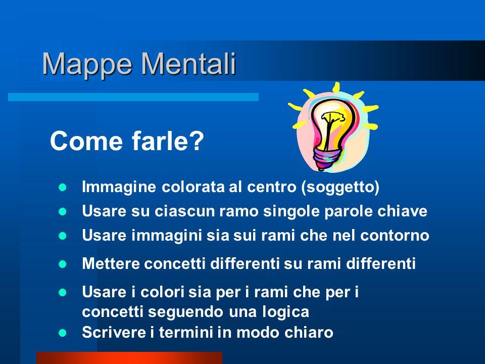 Mappe Mentali Cosa sono? Strumento per la generazione e la rappresentazione delle idee e del pensiero mediante associazioni. I nodi si sviluppano a ra