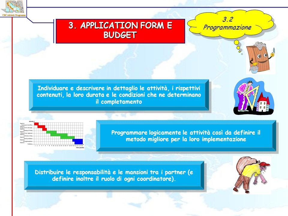 3. APPLICATION FORM E BUDGET 3.2 Programmazione Individuare e descrivere in dettaglio le attività, i rispettivi contenuti, la loro durata e le condizi
