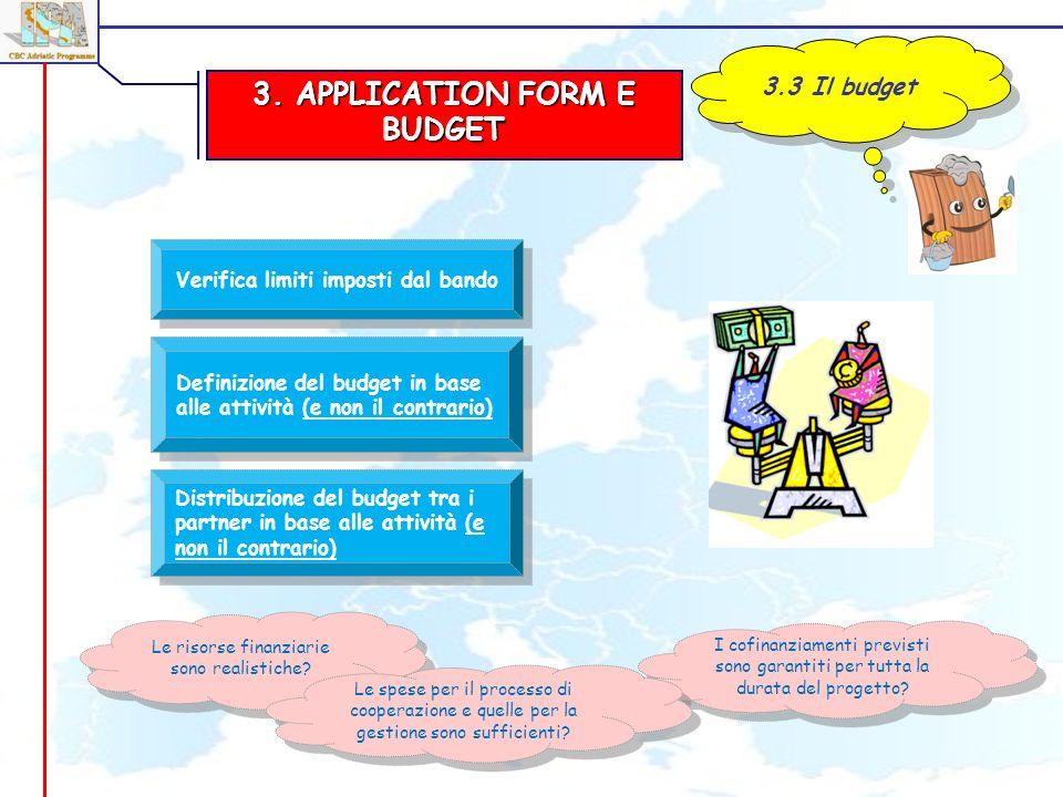 3. APPLICATION FORM E BUDGET 3.3 Il budget Verifica limiti imposti dal bando Definizione del budget in base alle attività (e non il contrario) Distrib
