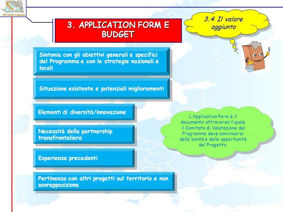 3. APPLICATION FORM E BUDGET 3.4 Il valore aggiunto Situazione esistente e potenziali miglioramenti Elementi di diversità/innovazione LApplication for