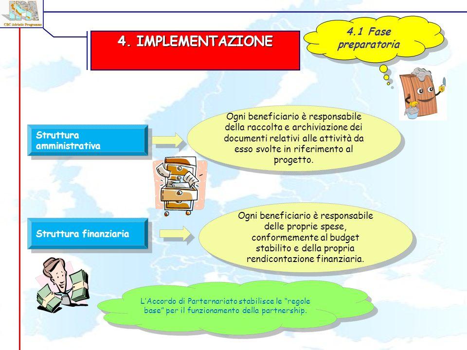 4. IMPLEMENTAZIONE 4.1 Fase preparatoria Struttura amministrativa Ogni beneficiario è responsabile della raccolta e archiviazione dei documenti relati