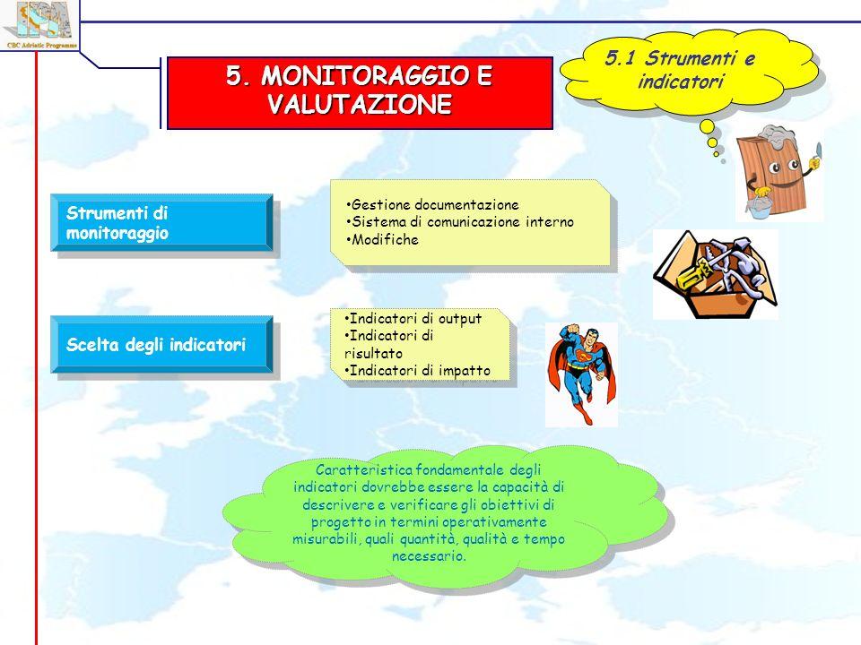 5. MONITORAGGIO E VALUTAZIONE 5.1 Strumenti e indicatori Strumenti di monitoraggio Scelta degli indicatori Gestione documentazione Sistema di comunica