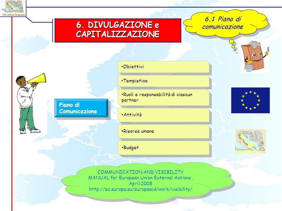 6. DIVULGAZIONE e CAPITALIZZAZIONE 6.1 Piano di comunicazione Piano di Comunicazione Obiettivi COMMUNICATION AND VISIBILITY MANUAL for European Union