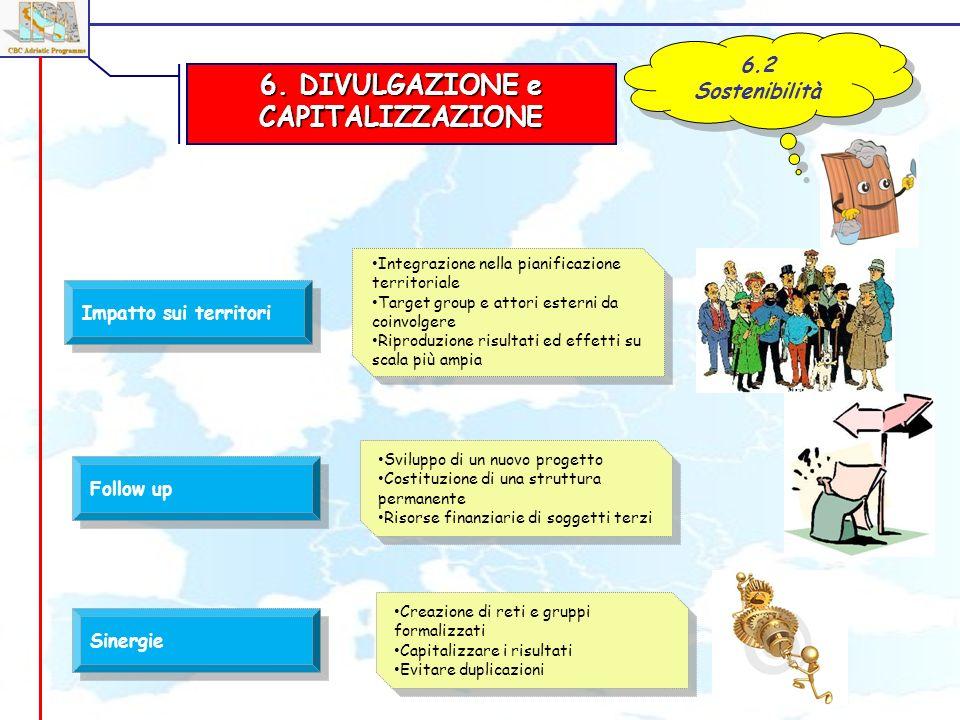 6. DIVULGAZIONE e CAPITALIZZAZIONE 6.2 Sostenibilità Impatto sui territori Follow up Integrazione nella pianificazione territoriale Target group e att