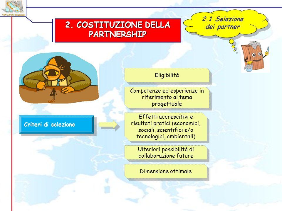 2. COSTITUZIONE DELLA PARTNERSHIP 2.1 Selezione dei partner Criteri di selezione Eligibilità Competenze ed esperienze in riferimento al tema progettua