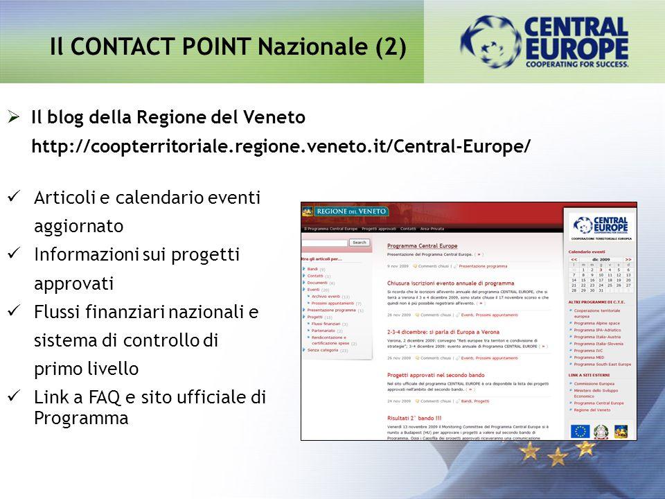 Il blog della Regione del Veneto http://coopterritoriale.regione.veneto.it/Central-Europe/ Il CONTACT POINT Nazionale (2) Articoli e calendario eventi