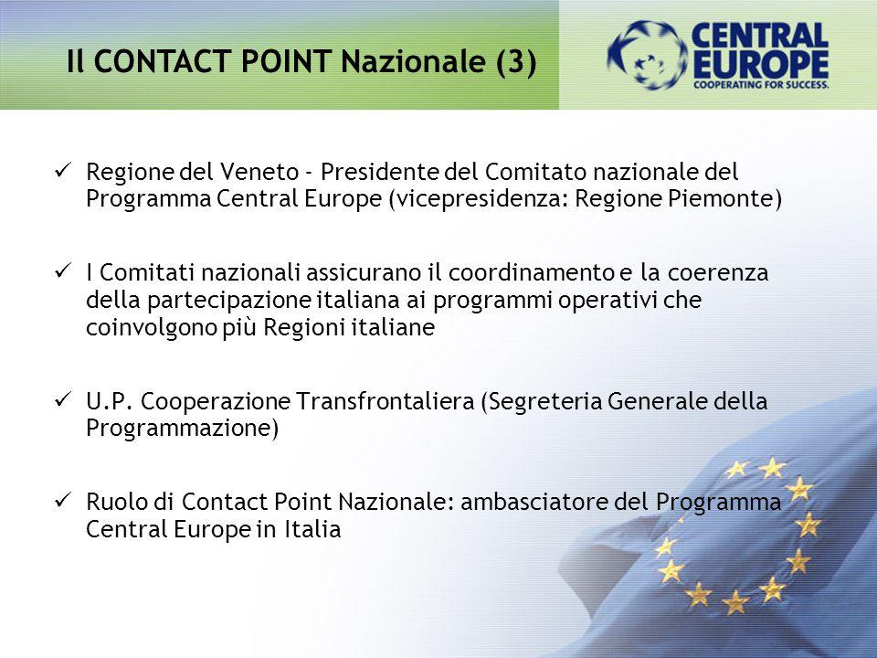 Regione del Veneto - Presidente del Comitato nazionale del Programma Central Europe (vicepresidenza: Regione Piemonte) I Comitati nazionali assicurano