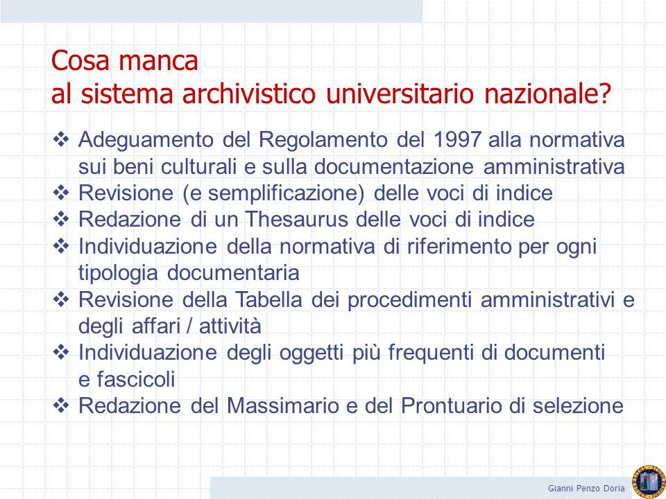 Gianni Penzo Doria Titulus 97 (standard) Standard archivistico universitario adottato da una rete estesa di atenei italiani mediante lutilizzo di un t