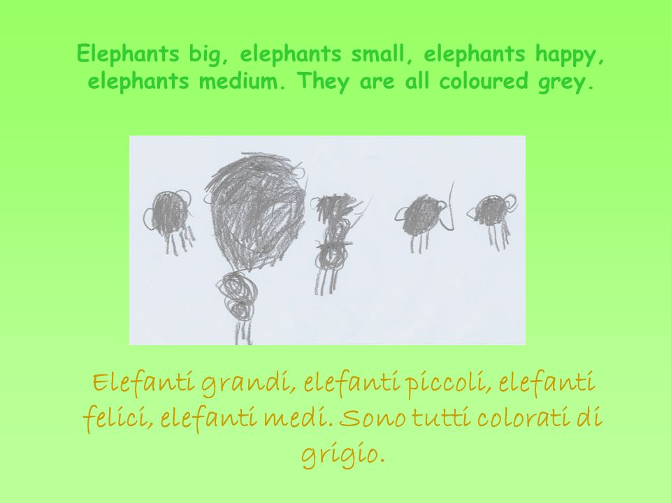 The elephants are teasing Elmer.Elmer is pink, yellow, green and red.
