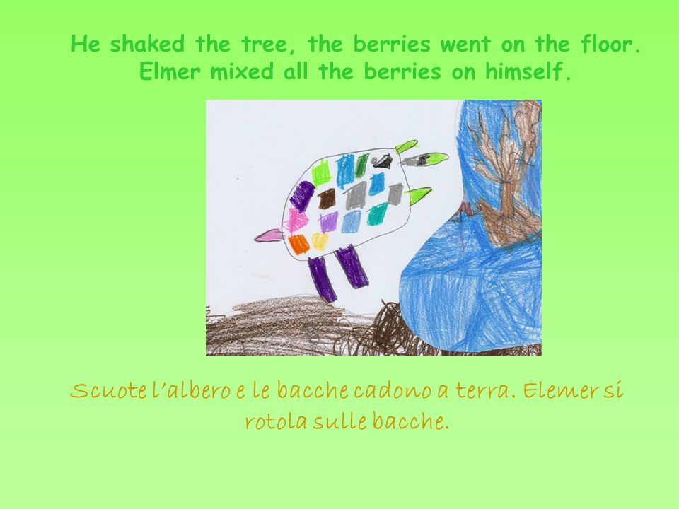 Elmer is walking in the jungle.He said hello to the crocodile.
