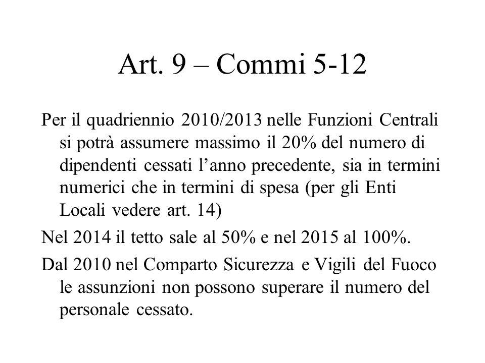 Art. 9 – Commi 5-12 Per il quadriennio 2010/2013 nelle Funzioni Centrali si potrà assumere massimo il 20% del numero di dipendenti cessati lanno prece