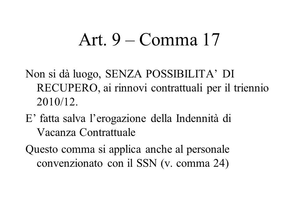 Art. 9 – Comma 17 Non si dà luogo, SENZA POSSIBILITA DI RECUPERO, ai rinnovi contrattuali per il triennio 2010/12. E fatta salva lerogazione della Ind