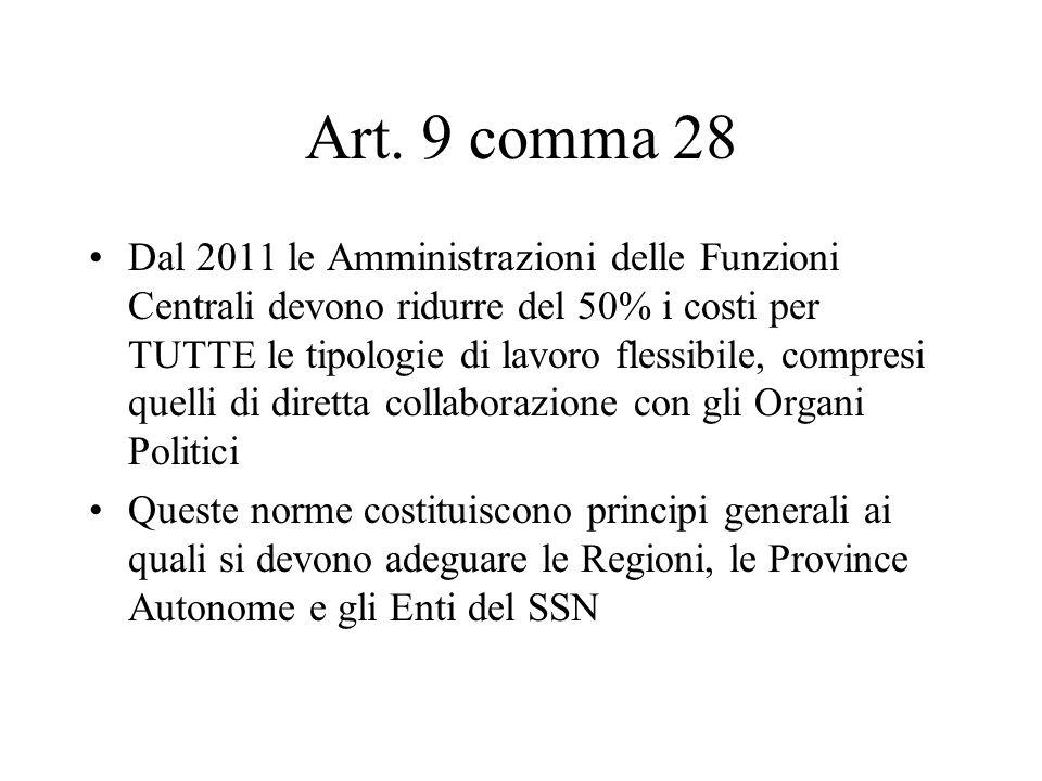 Art. 9 comma 28 Dal 2011 le Amministrazioni delle Funzioni Centrali devono ridurre del 50% i costi per TUTTE le tipologie di lavoro flessibile, compre