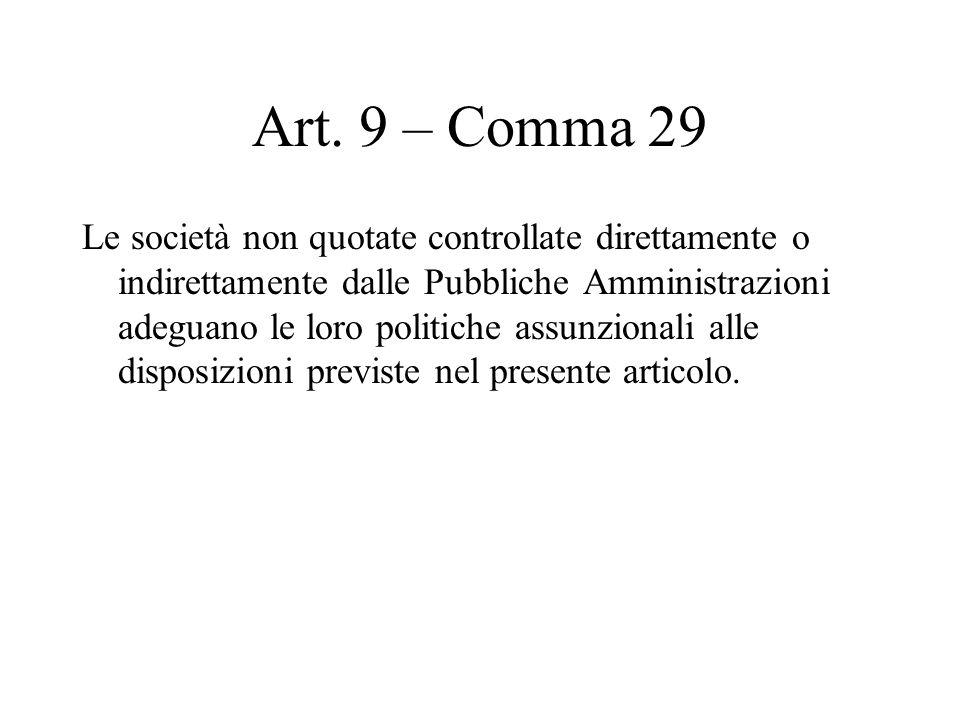 Art. 9 – Comma 29 Le società non quotate controllate direttamente o indirettamente dalle Pubbliche Amministrazioni adeguano le loro politiche assunzio