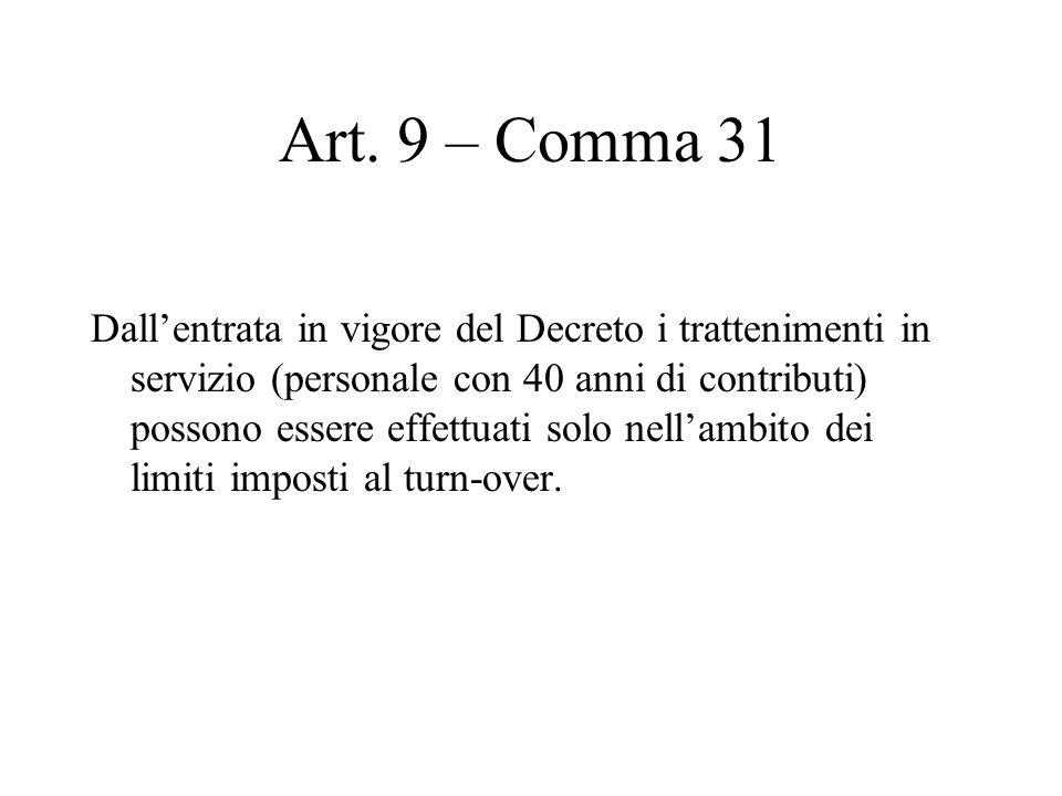 Art. 9 – Comma 31 Dallentrata in vigore del Decreto i trattenimenti in servizio (personale con 40 anni di contributi) possono essere effettuati solo n