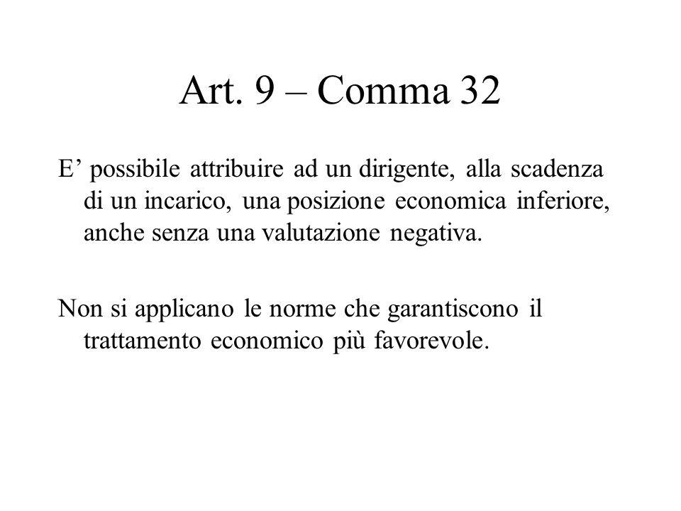 Art. 9 – Comma 32 E possibile attribuire ad un dirigente, alla scadenza di un incarico, una posizione economica inferiore, anche senza una valutazione