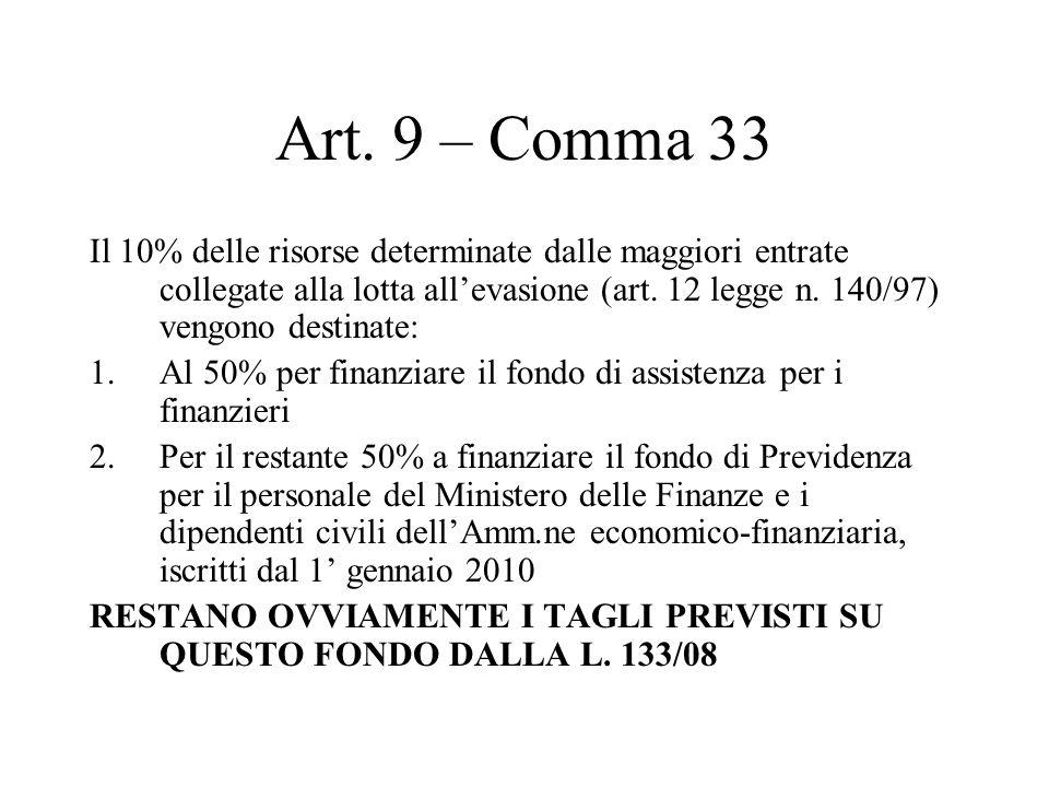 Art. 9 – Comma 33 Il 10% delle risorse determinate dalle maggiori entrate collegate alla lotta allevasione (art. 12 legge n. 140/97) vengono destinate