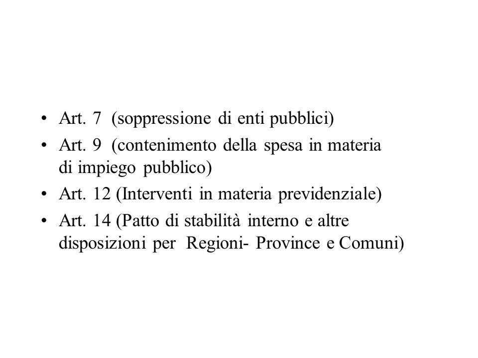 Art.14 – Commi 1 - 6 Vengono individuati i tagli ai trasferimenti nel triennio 2011/2013.
