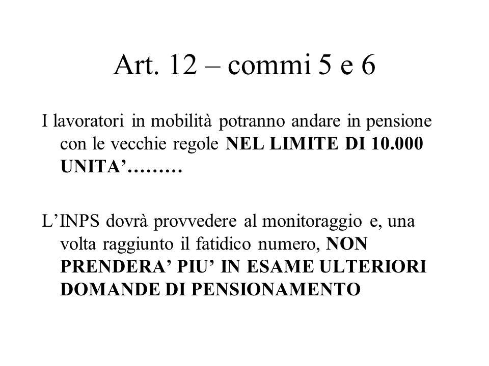 Art. 12 – commi 5 e 6 I lavoratori in mobilità potranno andare in pensione con le vecchie regole NEL LIMITE DI 10.000 UNITA……… LINPS dovrà provvedere