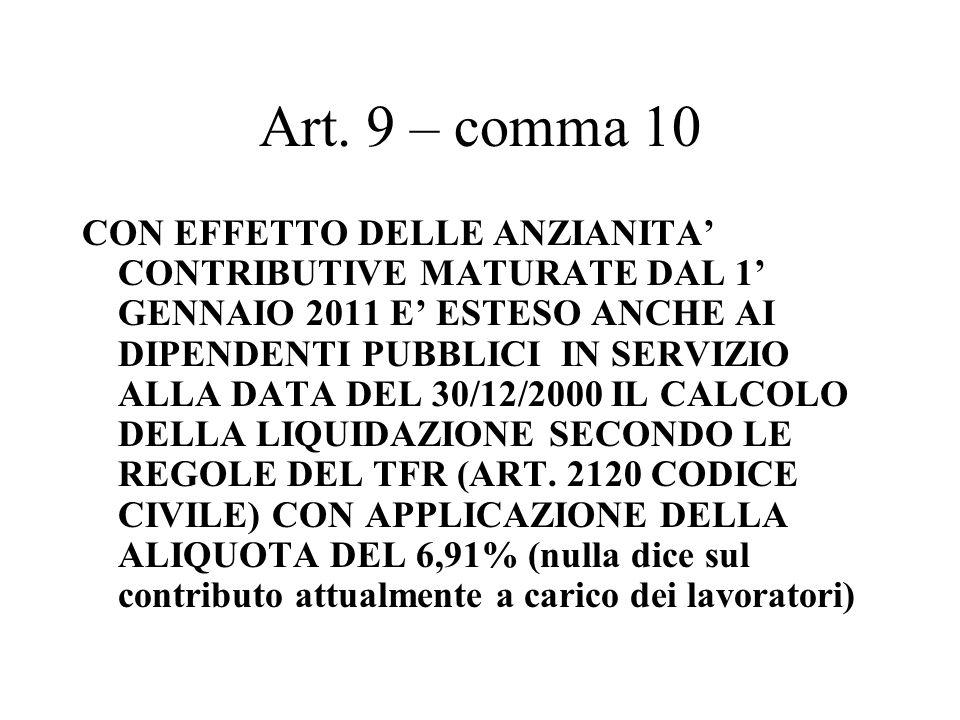 Art. 9 – comma 10 CON EFFETTO DELLE ANZIANITA CONTRIBUTIVE MATURATE DAL 1 GENNAIO 2011 E ESTESO ANCHE AI DIPENDENTI PUBBLICI IN SERVIZIO ALLA DATA DEL