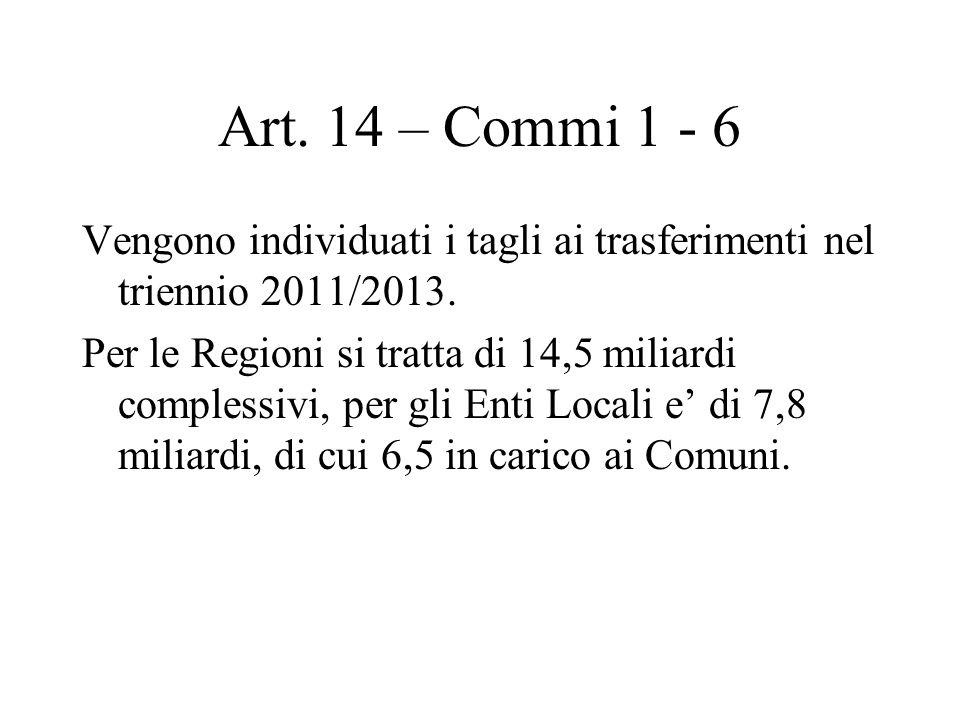 Art. 14 – Commi 1 - 6 Vengono individuati i tagli ai trasferimenti nel triennio 2011/2013.