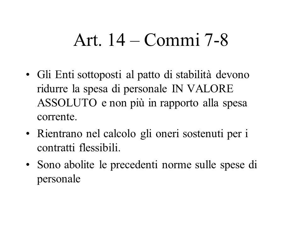 Art. 14 – Commi 7-8 Gli Enti sottoposti al patto di stabilità devono ridurre la spesa di personale IN VALORE ASSOLUTO e non più in rapporto alla spesa