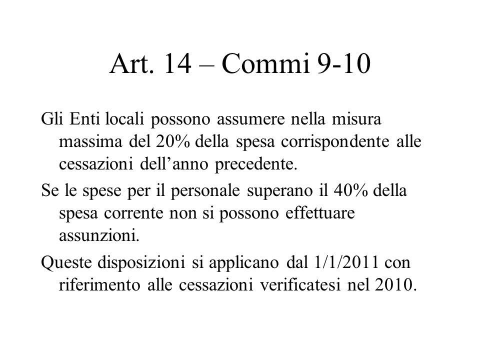 Art. 14 – Commi 9-10 Gli Enti locali possono assumere nella misura massima del 20% della spesa corrispondente alle cessazioni dellanno precedente. Se