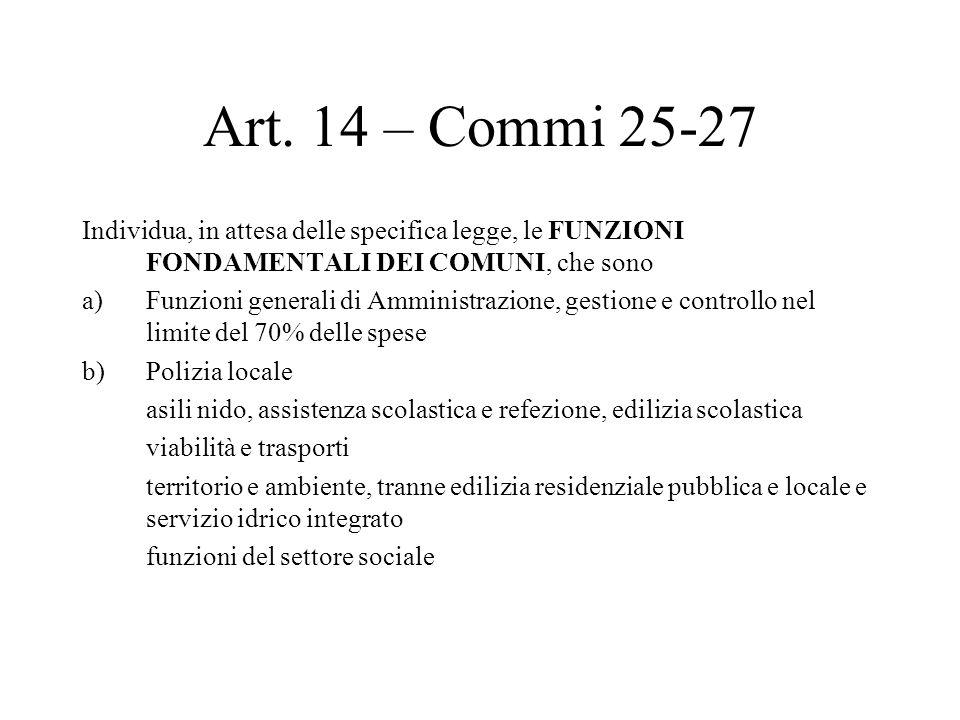 Art. 14 – Commi 25-27 Individua, in attesa delle specifica legge, le FUNZIONI FONDAMENTALI DEI COMUNI, che sono a)Funzioni generali di Amministrazione