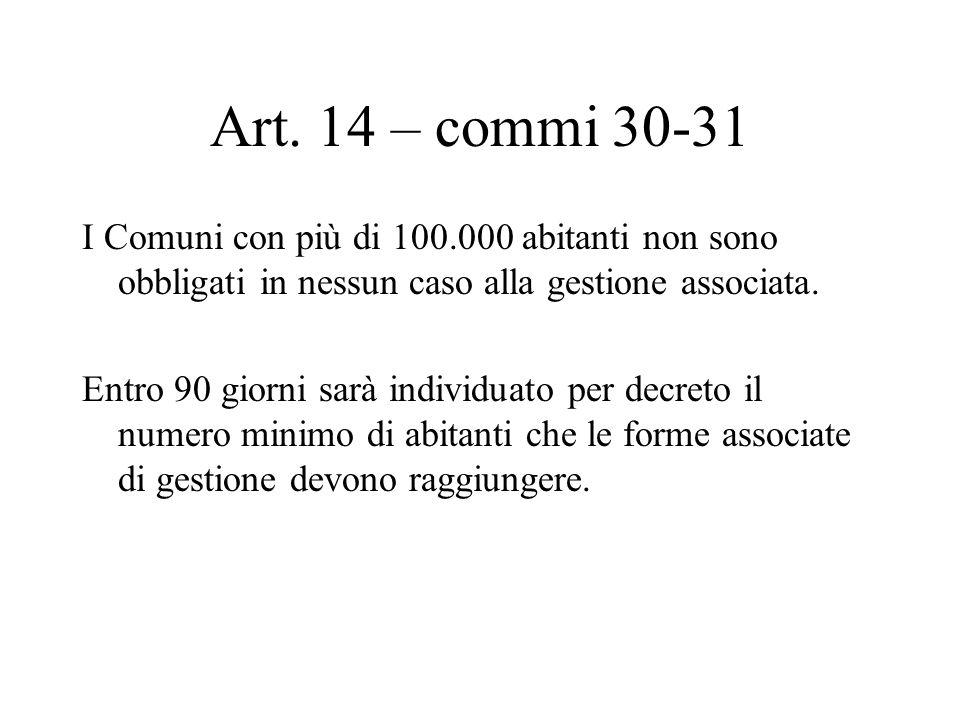Art. 14 – commi 30-31 I Comuni con più di 100.000 abitanti non sono obbligati in nessun caso alla gestione associata. Entro 90 giorni sarà individuato