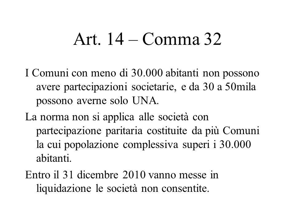 Art. 14 – Comma 32 I Comuni con meno di 30.000 abitanti non possono avere partecipazioni societarie, e da 30 a 50mila possono averne solo UNA. La norm
