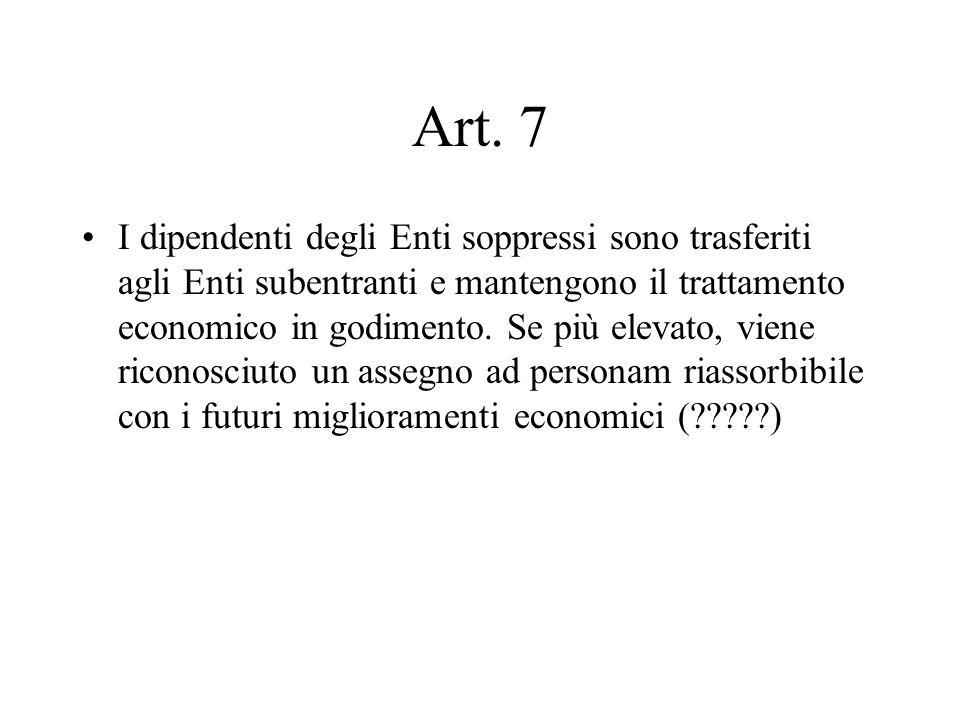 Art. 7 I dipendenti degli Enti soppressi sono trasferiti agli Enti subentranti e mantengono il trattamento economico in godimento. Se più elevato, vie